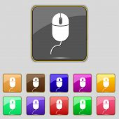 Computer mouse sign icon. Optical with wheel symbol. Set colourful buttons. Vector