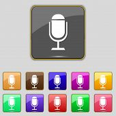 Microphone icon. Speaker symbol. Live music sign. Set colourful buttons Vector