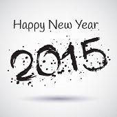 Happy New Year 2015, Vector Watercolor