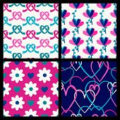Vector Seamless Pattern Set, Flowers And Hearts