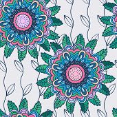 Vector Seamless Hand-drawn Pattern With Flowers And Leaves