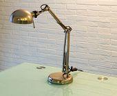 Interior, desk lamp in metal
