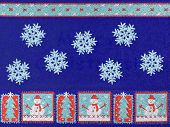 Christmas trees, snowman and snowflakes - textile background