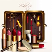 Fashion Vector Background With Make Up Accesories