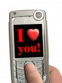 Mobile phone in hand, I love you! on display, isolated on white