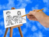 Drawing Happy family on easel, pencil in hand