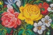 Roses on fabric (textile background)