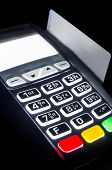 Payment Terminal With Lighting Keypad At Night