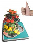 Vase with fruits on weigh-scale - 0 kilogram (isolated)