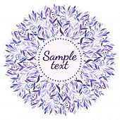 purple watercolor  floral ornament on the white background