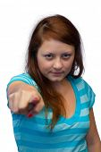 Young woman - pointing finger, isolated on white background