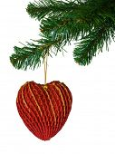 Christmas tree and heart, isolated on white background