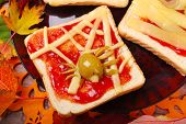 Funny Sandwich With Spider Web For Halloween