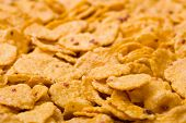 Macro of cornflakes, food background