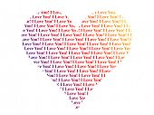 Heart shaped words I Love You, isolated on white background
