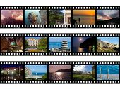 Frames of film, nature and travel (my photos), isolated on white background