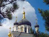 Gold crosses and domes of church, sky and trees