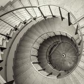 picture of spiral staircase  - Upside view of a spiral staircase angle shot - JPG