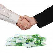 Handshake and money Euro isolated on white background