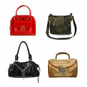 Collection of woman bags isolated on white background