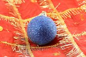 Christmas Background With Blue New Year Ball