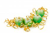 Christmas balls and ribbon isolated on white background
