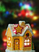 Lighting house, abstract christmas tree on background
