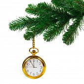 Christmas tree and clock isolated on white background