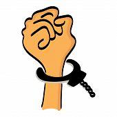 One cartoon hand man in handcuffs.