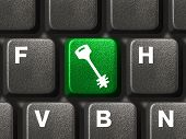 Computer keyboard with security button, internet concept