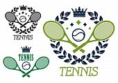 Tennis championship emblems or badges