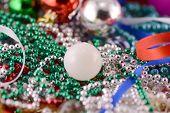 White Christmas Balls With Diamonds Set, New Year Decoration