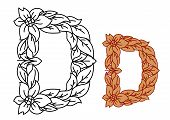 Uppercase letter D in a floral and foliate design