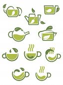 Green herbal tea icons