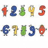 Fun colorful cartoon numbers with eyes, hands and feet.