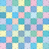 Seamless repeating pattern of small colored squares.