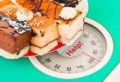 Cakes on weight scale and word Help - health background