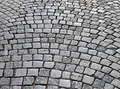 Retro cobblestone street - abstract architecture background