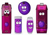 Happy purple plum with cartoon juice drinks