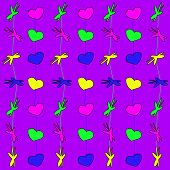Seamless pattern of small, simple shapes of different colors.