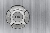 Button ok and metal texture - abstract technology background