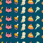 Seamless pattern of painted toys and baby.