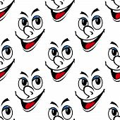 Happy smiling face seamless background pattern