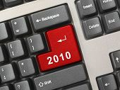 Computer keyboard with 2010 key - holiday concept