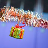 Closeup Golden Gift Box