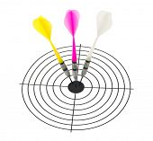 Three arrows darts and target isolated on white background