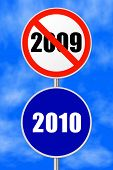 Round sign 2010 - New Year concept, sky on background