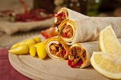 Beef meat Tantuni is a kind of traditional turkish kebap durum lavash