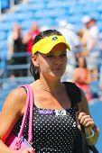 Professional tennis player Agnieszka Radwanska after first round match at US Open 2014
