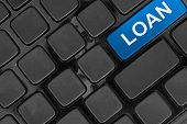 Keyboard Close Up,top View, Loan Finance Online Concept Word